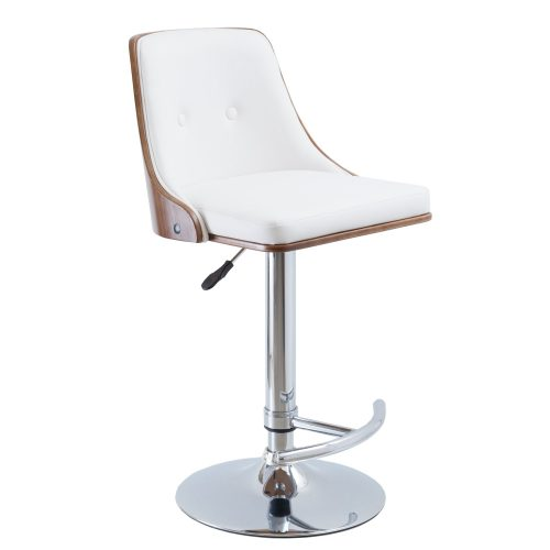Simplife Naples White Faux Leather Adjustable Barstool with silver base