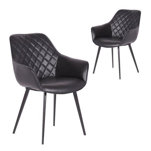 Simplife Set of 2 Aaric Vintage Black Faux Leather Dining Armchairs
