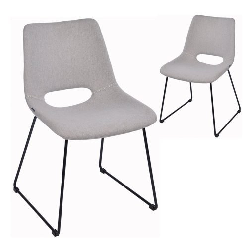 Simplife Set of 2 Sleigh Stain Resistant Waterproof Light Grey Fabric Dining Chairs