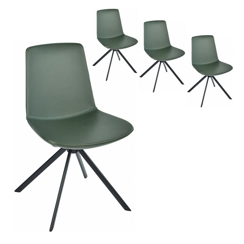 Simplife Set of 4 Chicago Green Faux Leather Dining Chairs