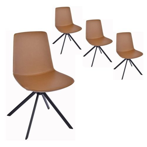 Simplife Set of 4 Chicago Tan Faux Leather Dining Chairs