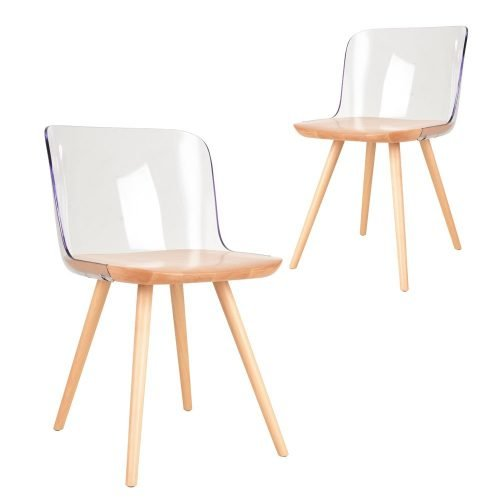 Simplife Set of 2 Clark crystal natural timber dining chairs