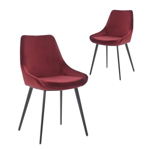 Simplife Set of 2 Daimyo Burgundy Velvet Dining Chair