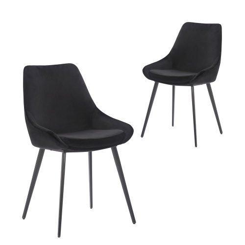 Simplife Set of 2 Daimyo Black Velvet Dining Chair