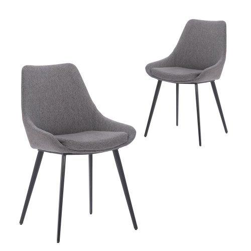 Simplife Set of 2 Daimyo Dark Grey stain resistant waterproof fabric Dining Chair