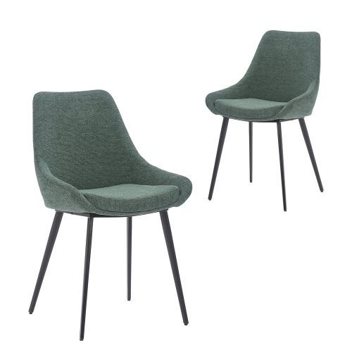 Simplife Set of 2 Daimyo Green stain resistant waterproof fabric Dining Chair