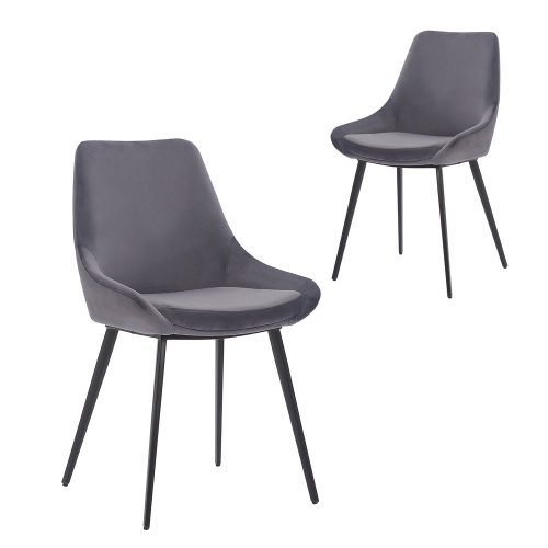 Simplife Set of 2 Daimyo Grey Velvet Dining Chair