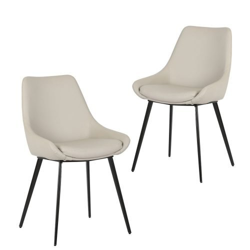 Simplife Set of 2 Daimyo Light Grey Faux Leather Dining Chair