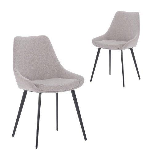 Simplife Set of 2 Daimyo Light Grey stain resistant waterproof fabric Dining Chair