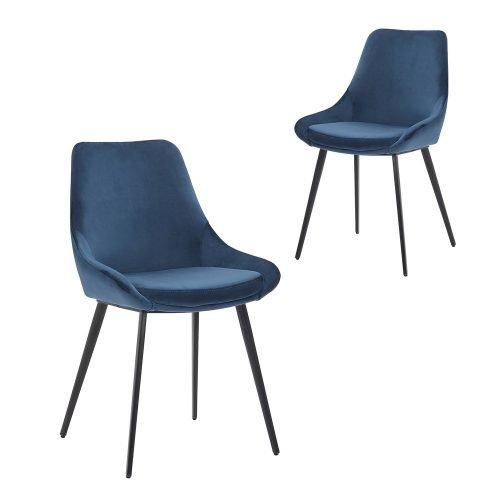 Simplife Set of 2 Daimyo Navy Velvet Dining Chair