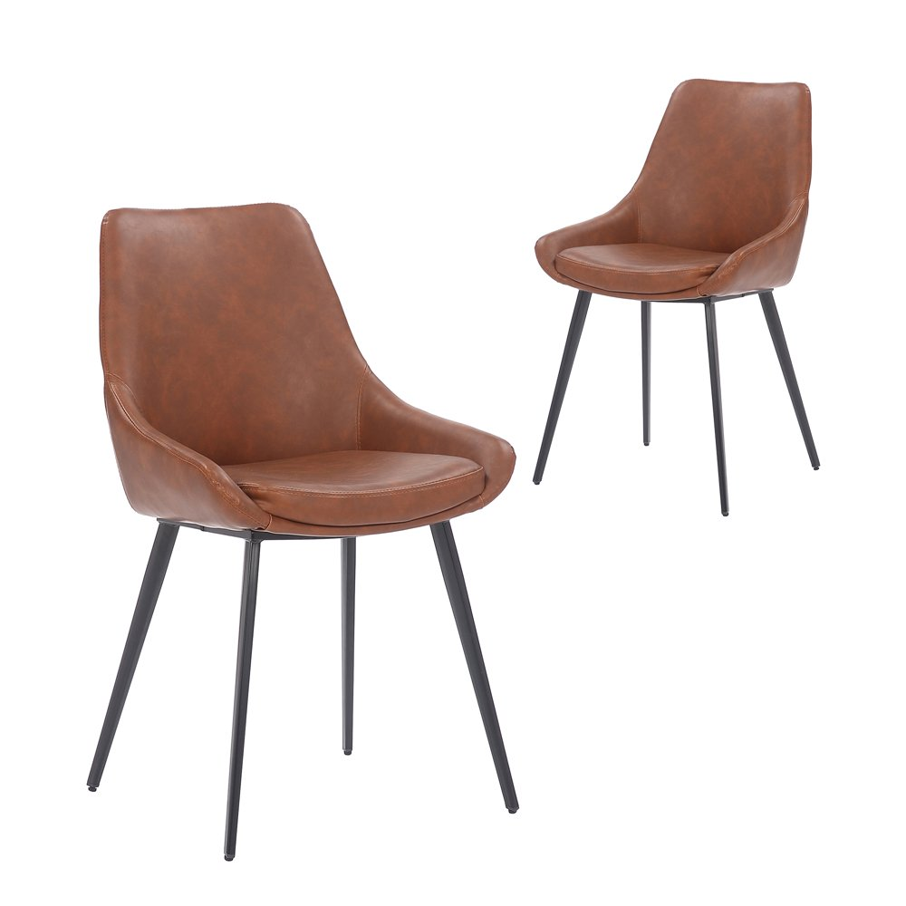 Simplife Set of 2 Daimyo Tan Faux Leather Dining Chair