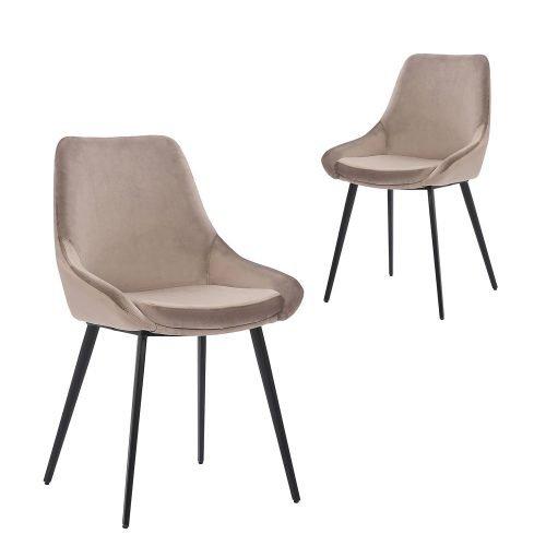 Simplife Set of 2 Daimyo Taupe Velvet Dining Chair