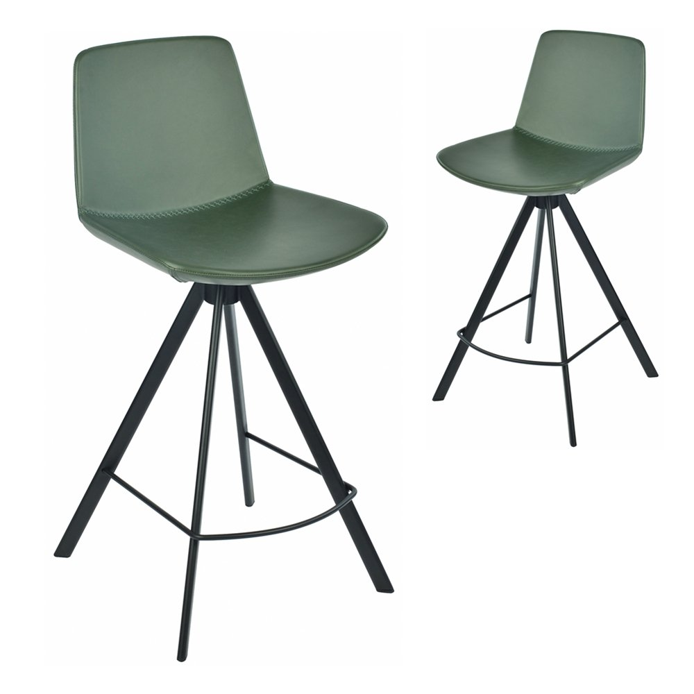 Simplife Set of 2-65cm Chicago Green Faux Leather Kitchen stools
