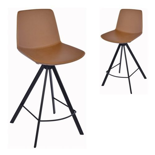 Simplife Set of 2-65cm Chicago Tan Faux Leather Kitchen stools