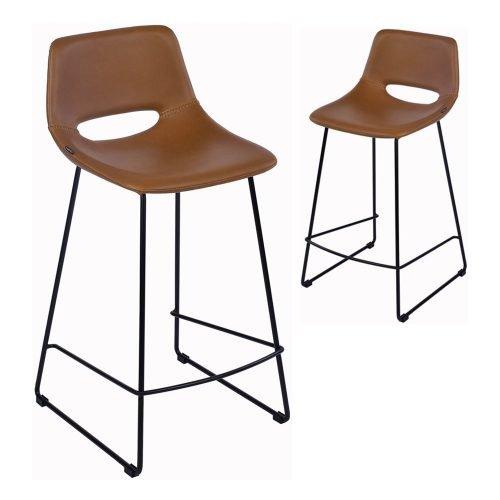 Simplife Set of 2-65cm Sleigh Tan Faux Leather Kitchen stools