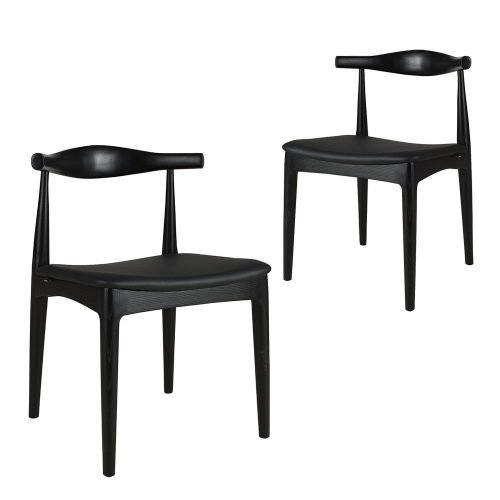 Simplife Set of 2 Elbow black faux leather replica dining chair-black