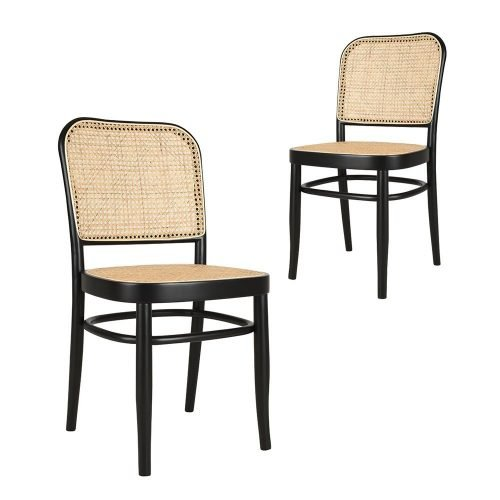 Simplife Set of 2 Faria rattan black timber dining chairs