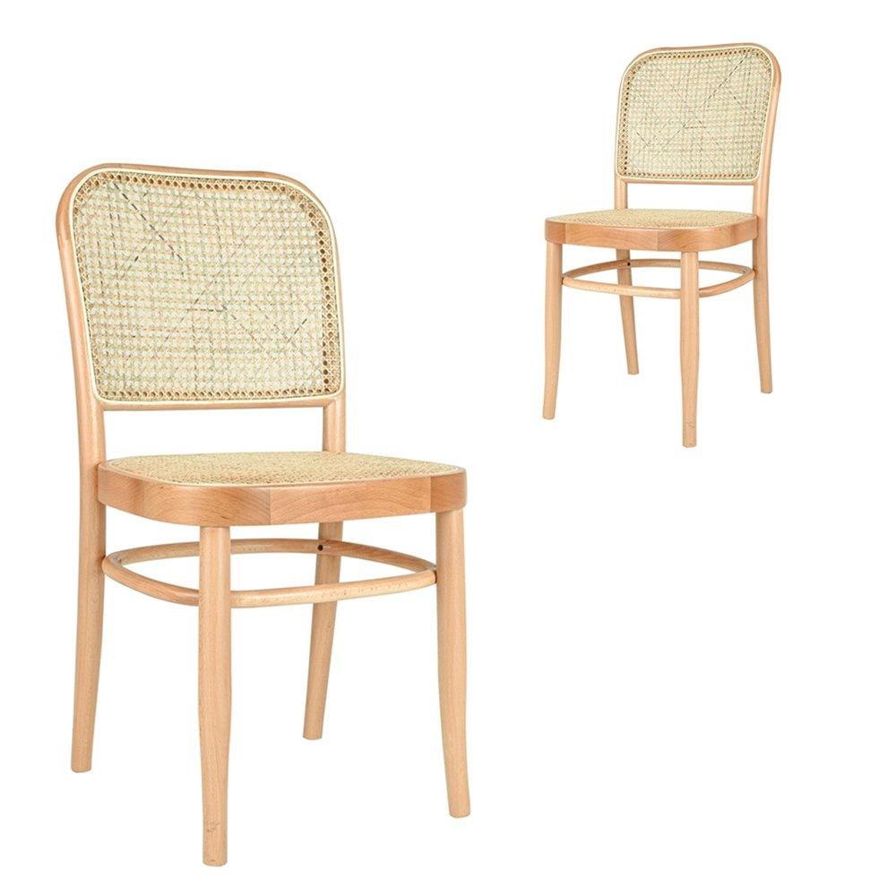 Simplife Set of 2 Faria rattan natural timber dining chairs
