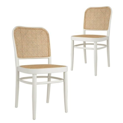 Simplife Set of 2 Faria rattan white timber dining chairs