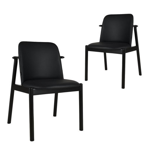 Set of 2 Gale black faux leather black timber dining chairs