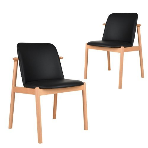 Set of 2 Gale black faux leather natural timber dining chairs