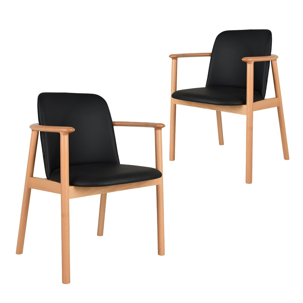 Simplife Set of 2 Joly black faux leather natural timber dining chairs