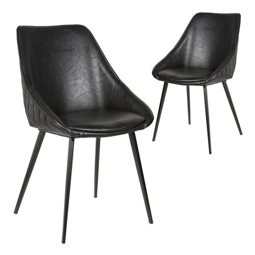 Simplife Set of 2 Khufra vintage black Faux Leather Dining Chairs