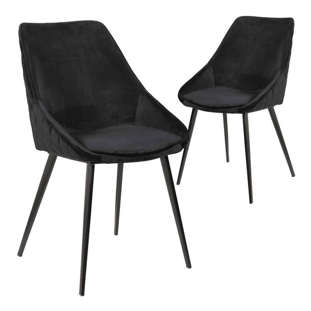 Simplife Set of 2 Khufra Black Velvet Dining Chairs
