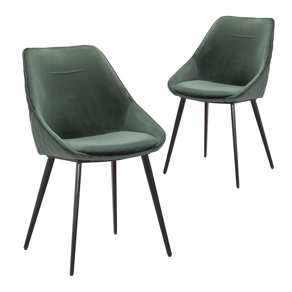 Simplife Set of 2 Khufra Green Velvet Dining Chairs