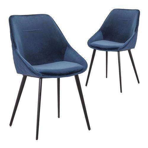 Simplife Set of 2 Khufra Navy Velvet Dining Chairs