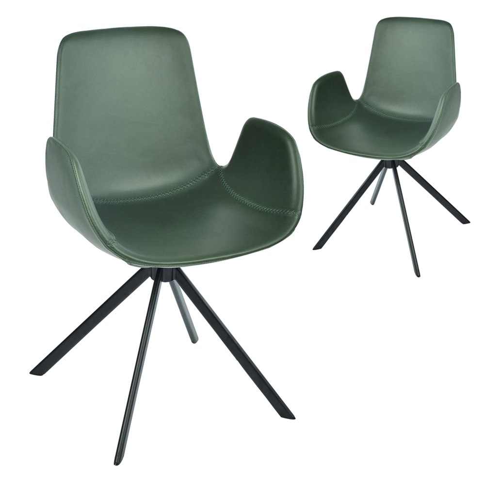 Simplife Set of 2 Kourtney Swivel Green Faux Leather Dining Chairs