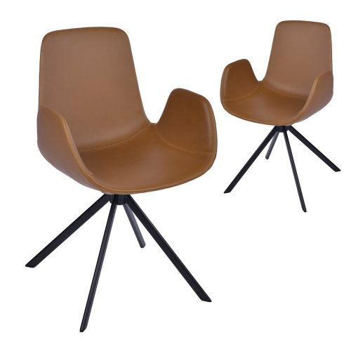 Simplife Set of 2 Kourtney Swivel Tan Faux Leather Dining Chairs