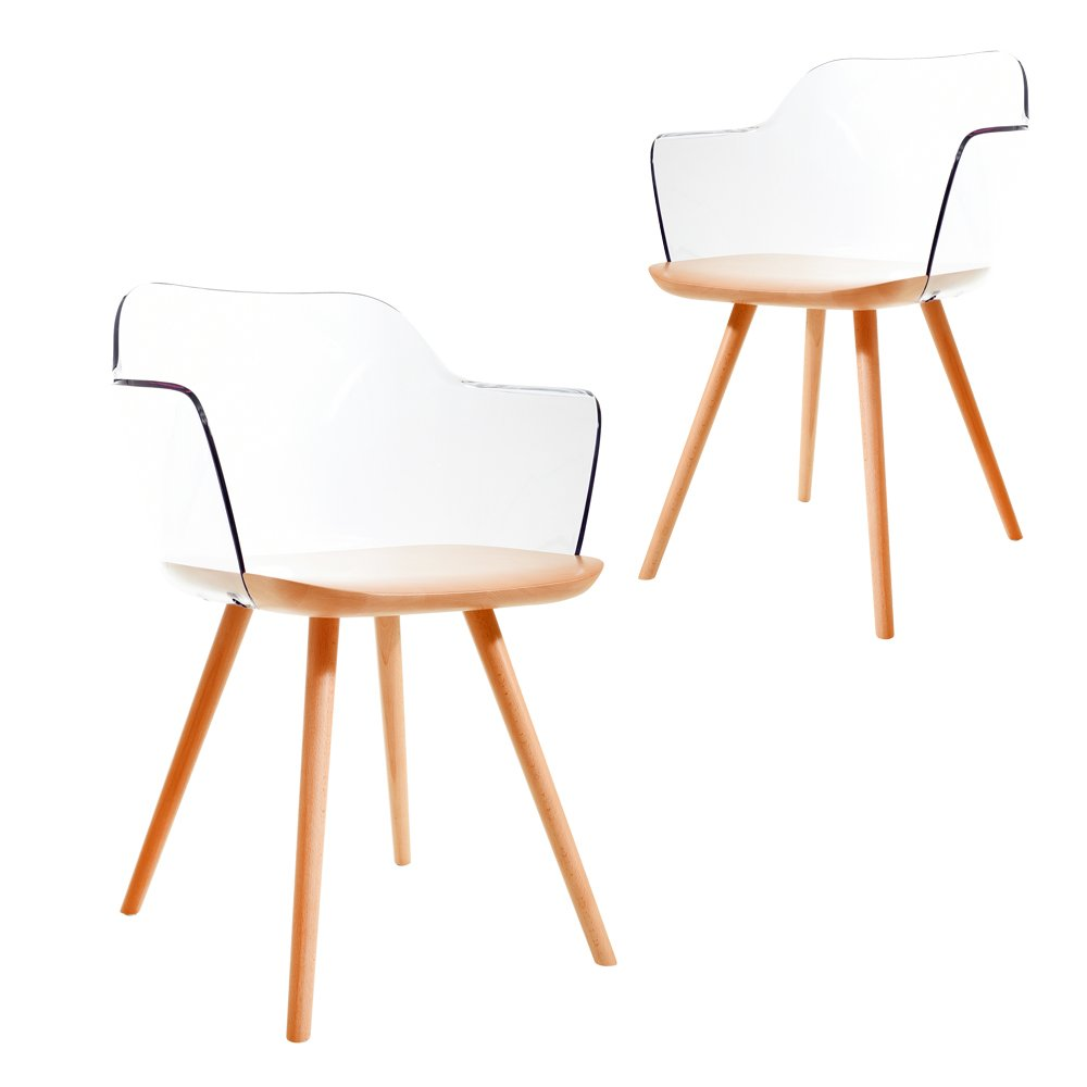Simplife Set of 2 Lois crystal natural timber dining chairs