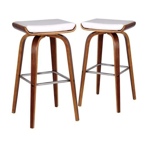 Set of 2-70cm Ruby White Faux Leather Barstools with silver footrest