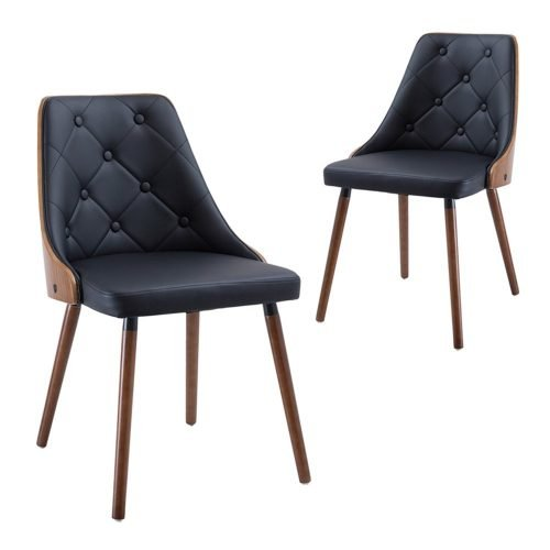 Simplife Set of 2 Sarah Black Faux Leather Dining Chairs