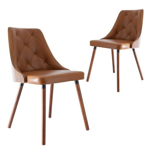 Simplife Set of 2 Sarah Tan Faux Leather Dining Chairs