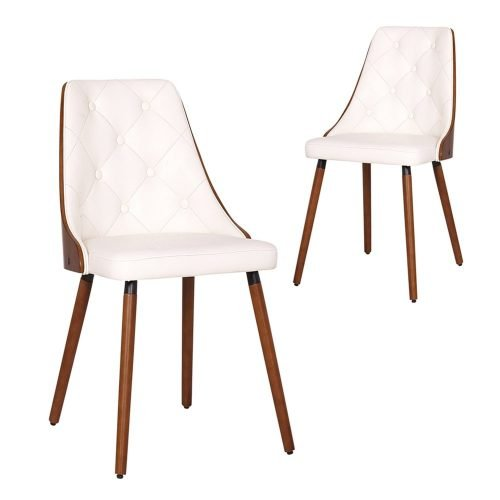 Simplife Set of 2 Sarah White Faux Leather Dining Chairs