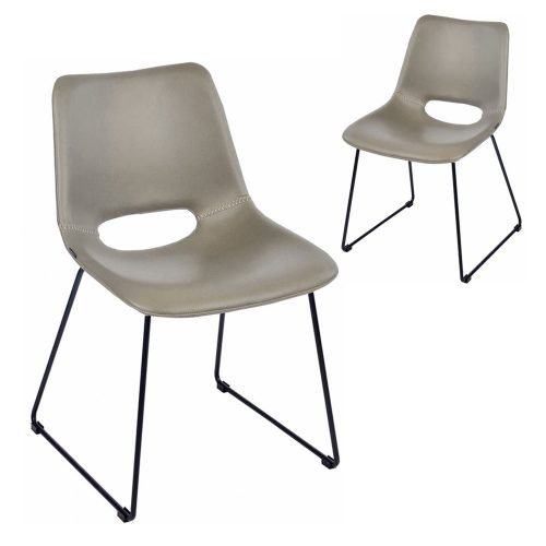 Simplife Set of 2 Sleigh Grey Faux Leather Dining Chairs