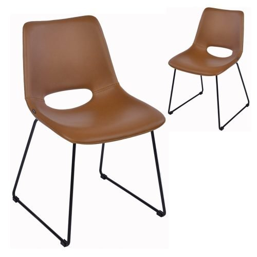 Simplife Set of 2 Sleigh Tan Faux Leather Dining Chairs