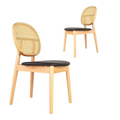 Simplife Set of 2 Tang black faux leather natural timber dining chairs