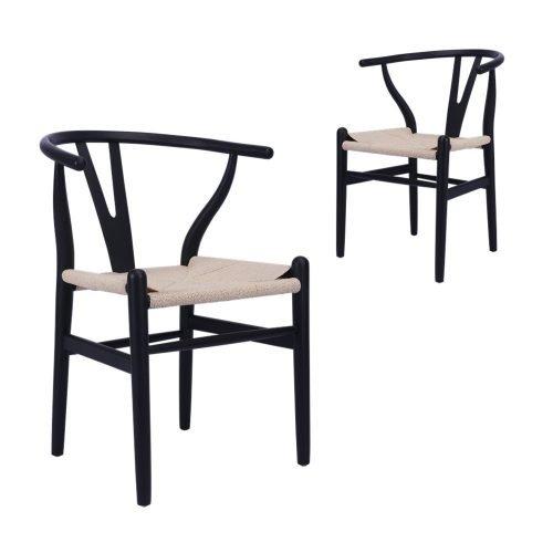 Simplife Set of 2 Replica Hans Wegner Black Wishbone Chair natural seat