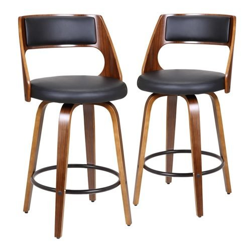 Set of 2-65cm Zurich Black Faux Leather Swivel Kitchen stools with black foot rest