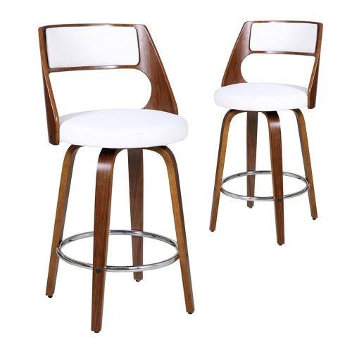 Simplife Set of 2-65cm Zurich White Faux Leather Swivel Kitchen stools with silver foot rest