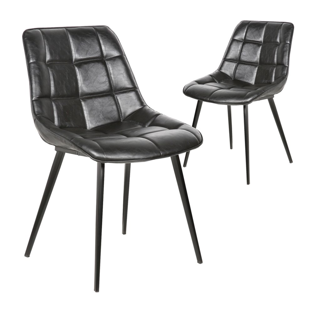 Simplife Set of 2 Lada Vintage Black Faux Leather Dining Chairs