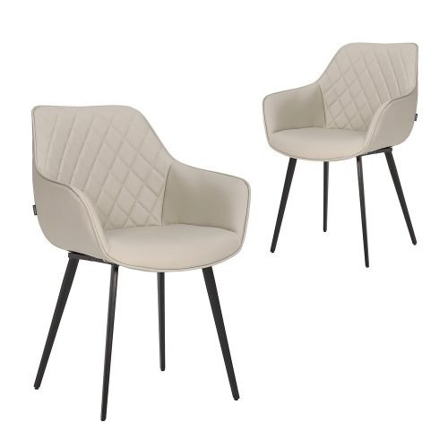 Simplife Set of 2 Aaric Light Grey Faux Leather Dining Armchairs