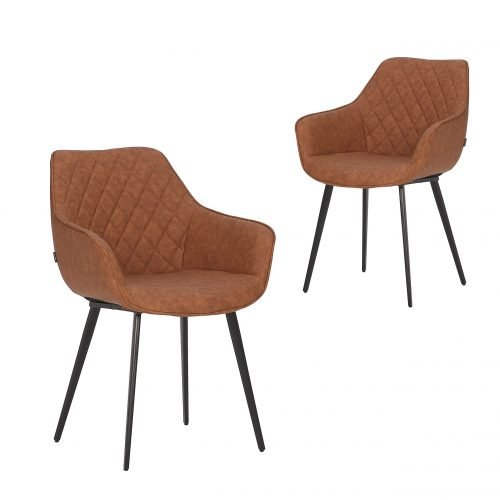 Simplife Set of 2 Aaric Tan Faux Leather Dining Armchairs