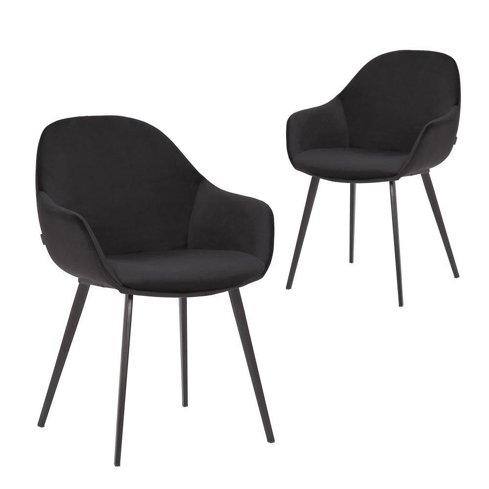 Simplife Set of 2 Fido black Velvet Dining Chair