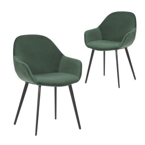 Simplife Set of 2 Fido Green Velvet Dining Chair