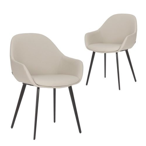 Simplife Set of 2 Fido Light Grey Faux Leather Dining Chair