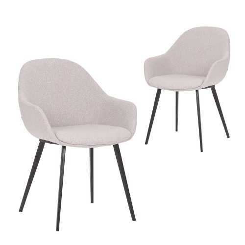 Simplife Set of 2 Fido light grey stain resistant waterproof fabric Dining Chair